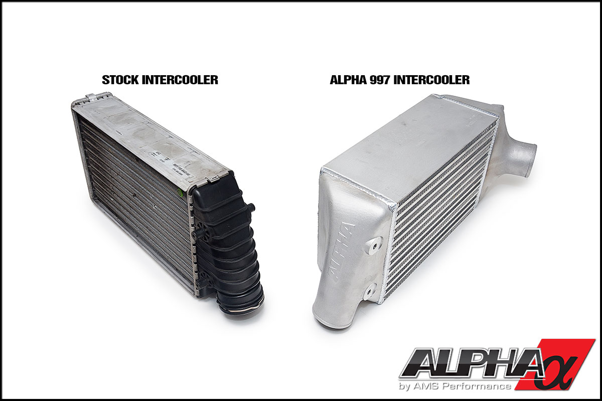 Alpha intercooler comparison to the stock 997TT intercooler.