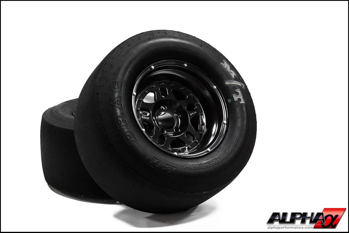 "Alpha Performance R35 GT-R 15"" Drag Wheel & Slick Package"