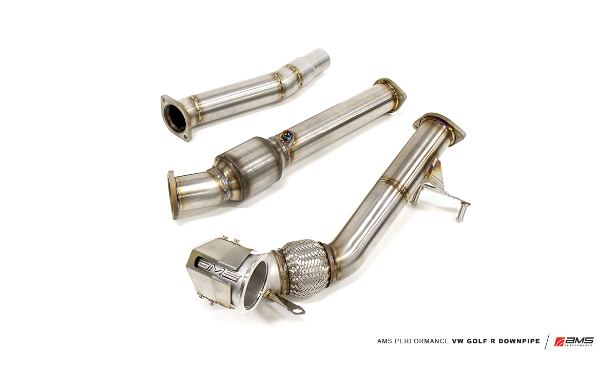 The AMS Performance VW Golf R MKVII Downpipe, Midpipe, and transition.