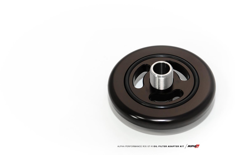 Alpha Performance R35 Race Oil Filter Adapter Plate Gtr Fuel Gt R